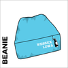 sky blue turn up beanie with embroidered club crest on the front.