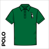 Polo Shirt. Bottle green colour ring spun cotton fabric in a double pique knit for breathability and strength. embroidered club badge on left chest