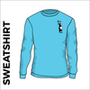 Sky blue sweater front with embroidered badge on left chest