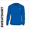 Royal blue  sweater front with embroidered badge on left chest