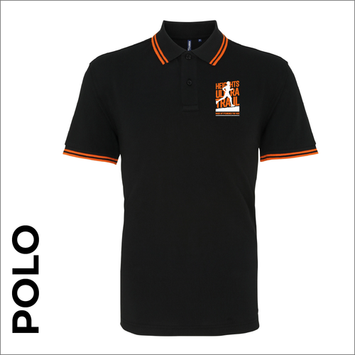 HUT Polo tipped T-Shirt. Black and orange ring spun cotton fabric in a double pique knit for breathability and strength.