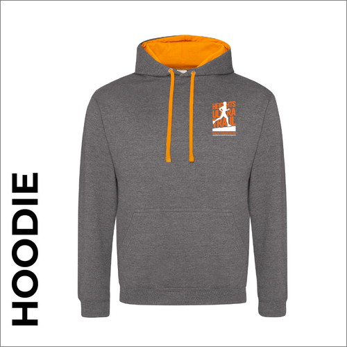 HUT Varsity hoodie with embroidered logo on chest -grey/orange