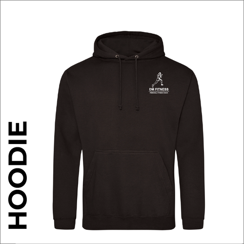 DM-Fitness black hooded top front image with embroidered club badge on chest