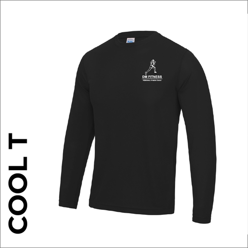 Long Sleeve mens black athletics Cool T-Shirt front image with printed club badge on chest