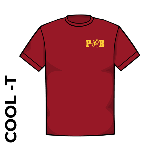 Pudsey and Bramley AC Cool-T, moisture wicking with printed left chest badge