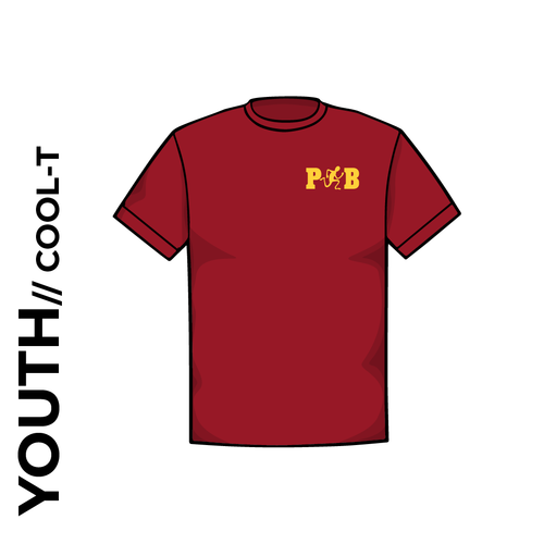 Pudsey and Bramley AC Youth Cool-T, moisture wicking with printed left chest badge