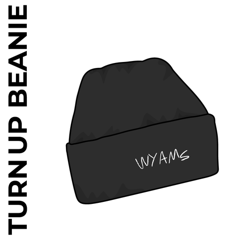 turn up beanie with embroidered logo on the front.