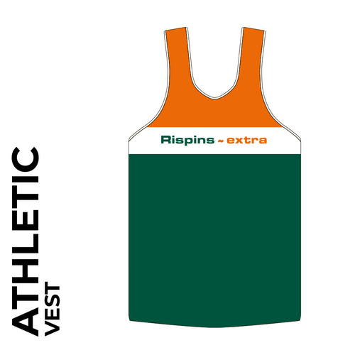 athletics vest front image with printed club badge on chest
