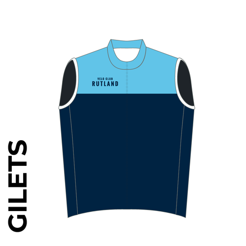 Velo Club Rutland Custom club cycle gilet design in full sublimation print. Front picture showing full length hidden SBS zip, wind-blocker and silicon gripper at hem.