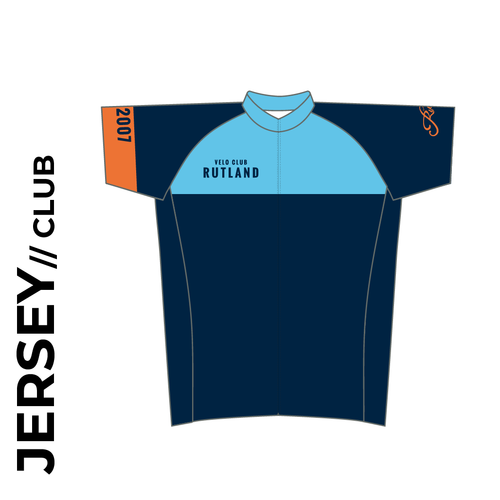 Velo Club Rutland Short sleeve custom cycle jersey club design in full sublimation print. Front picture showing full length hidden SBS zip, high collar for comfort fit and silicon gripper at hem.