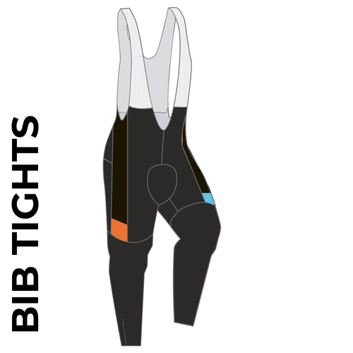 Velo Club Rutland Custom cycle bib tights with sublimation print. Side picture showing club custom design, ankle zip and 4 way stretch bib mesh. right leg view