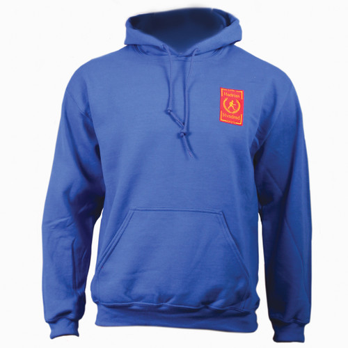 Hadrians Hundred official Hooded top. Blue colour cotton blend fabric for comfort with ribbed hem and cuffs.