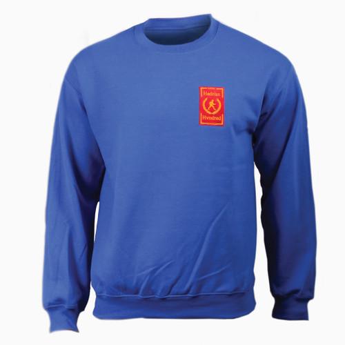 Hadrians Hundred official Sweatshirt. Blue colour cotton blend fabric for comfort.