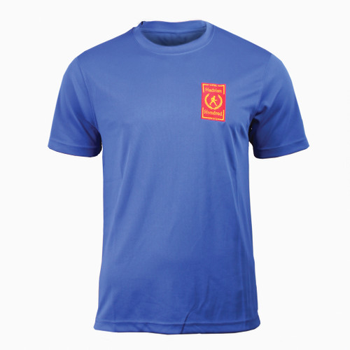 Hadrian Hundreds official unisex technical T-Shirt. Blue colour with moisture wicking fabric to keep you cool.