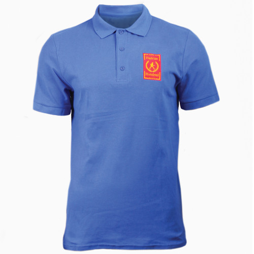 Hadrians Hundred official Ladies Polo T-Shirt. Blue colour ring spun cotton fabric in a double pique knit for breathability and strength.