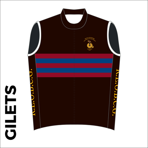 Custom club cycle gilet design in full sublimation print. Front picture showing full length hidden SBS zip, wind-blocker and silicon gripper at hem.