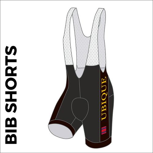 Custom cycle bib short club design side panel sublimation print. Side picture showing club custom design, silicon leg gripper and 4 way stretch bib mesh. Left leg view