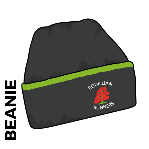 Roddillian Runners beanie, black and green with embroidered club crest on the front.
