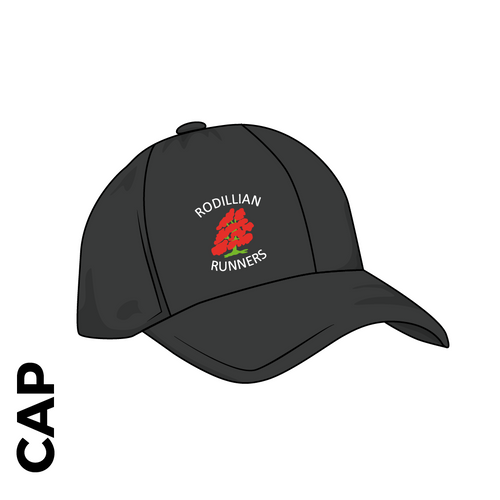 Rodillian Runners Customised black athletics cap, with club badge print  on the front panel.