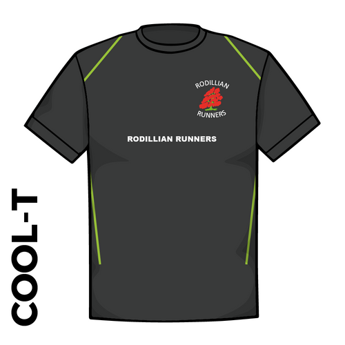 Rodillian Runners Black athletics Cool T-Shirt front image with embroidered club badge on chest and printed club text