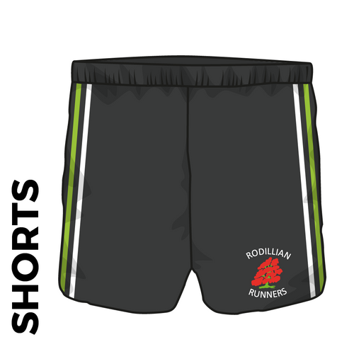 Rodillian Runners athletic shorts, front view with embroidered club crest on leg and club stripes to each side.