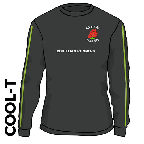 Rodillian Runners Black Long Sleeve athletics Cool T-Shirt front image with embroidered club badge on chest green sleeve detail and printed club text