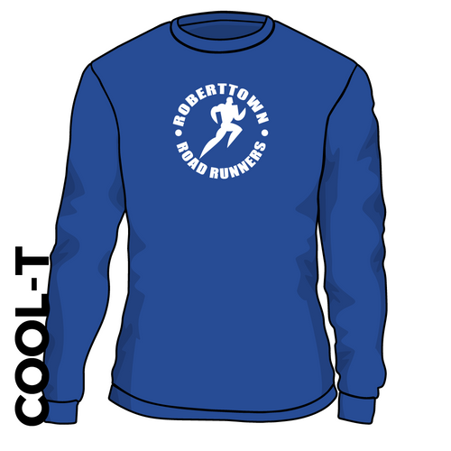 Roberttown Road Runners Royal Long Sleeve athletics Cool T-Shirt front image with printed club badge on chest