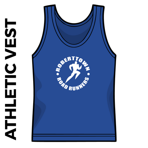 Roberttown Road Runners Royal athletics vest front image with printed club badge on chest