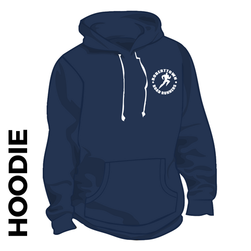 Roberttown Road Runners Navy hooded top front image with embroidered club badge on chest
