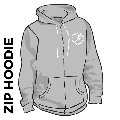 Roberttown Road Runners zipped grey hooded top front image with embroidered club badge on chest