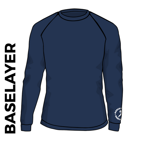 Roberttown Road Runners navy base layer front image with printed club badge on cuff