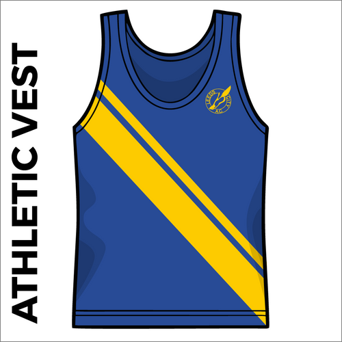 Leeds City A.C. Royal and gold athletics vest front image with printed club badge on chest