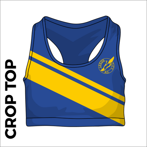 Leeds City A.C. Royal and gold athletics crop top front image with printed club badge on chest