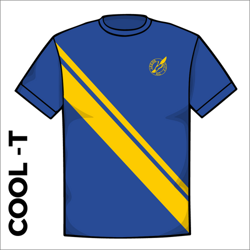Leeds City A.C. royal and gold athletics Cool T-Shirt front image with printed club badge on chest and gold sash.