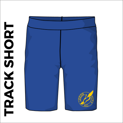 Leeds City A.C. athletic track shorts, front view with club crest on leg.