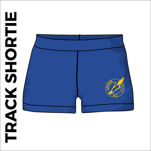 Leeds City A.C. athletic shortie track shorts, front view with club crest on leg.