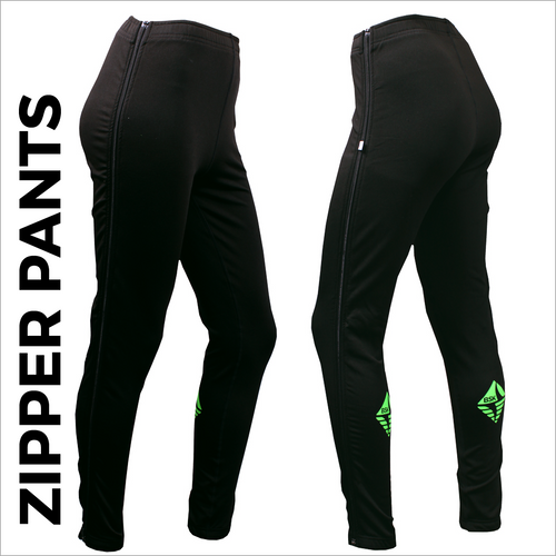 Zipper warm up pants with full length side zip and bright rear logo