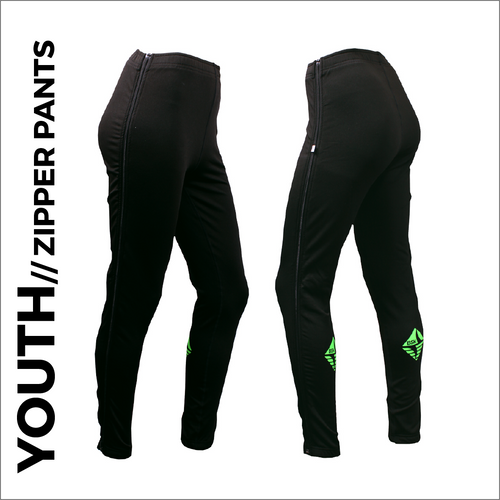 Youth Zipper warm up pant with full length side zip and bright rear logo