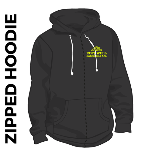 Rothwell Harriers zipped black hooded top front image with embroidered club badge on chest