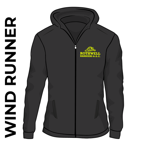 Rothwell Harriers black wind runner athletics jacket, front view with club crest on chest