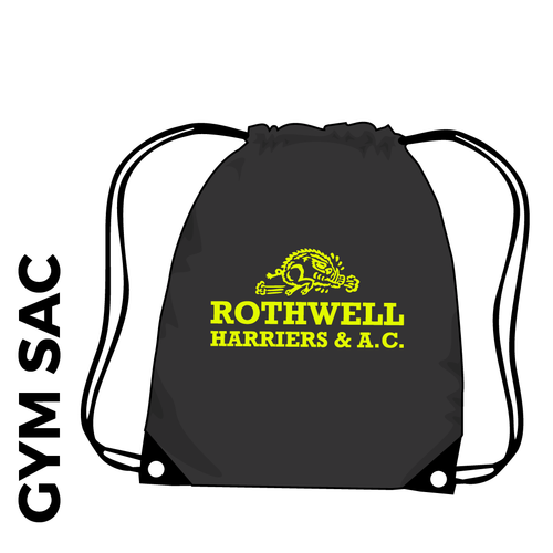 Rothwell Harriers gymsac with printed club logo