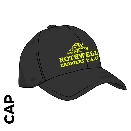 Rothwell Harriers customised black athletics cap, with club badge print  on the front panel.