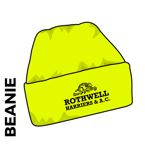 Rothwell Harriers turn up beanie, yellow with embroidered club crest on the front.