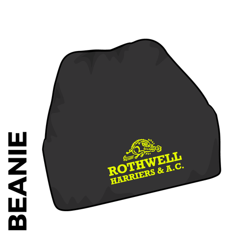 Rothwell Harriers beanie, black with embroidered club crest on the front.