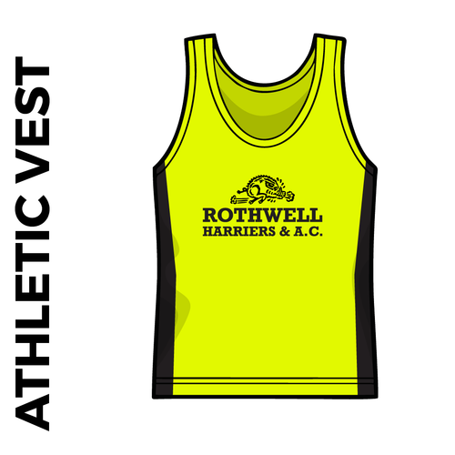 Rothwell Harriers athletics vest, front image with club badge on chest.