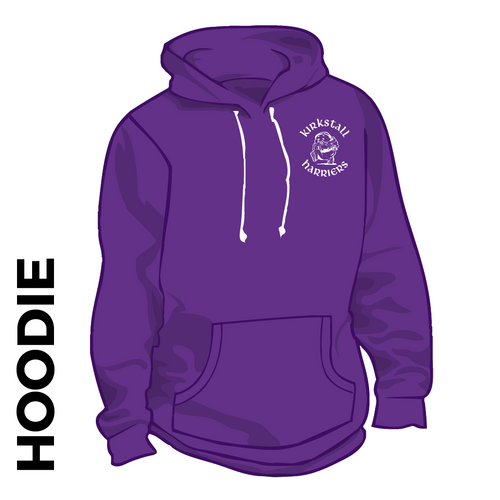 Kirkstall Harriers purple hooded top front image with embroidered club badge on chest