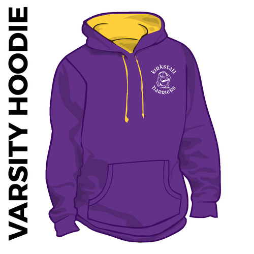 Kirkstall Harriers purple and gold varsity hooded top front with embroidered badge on left chest