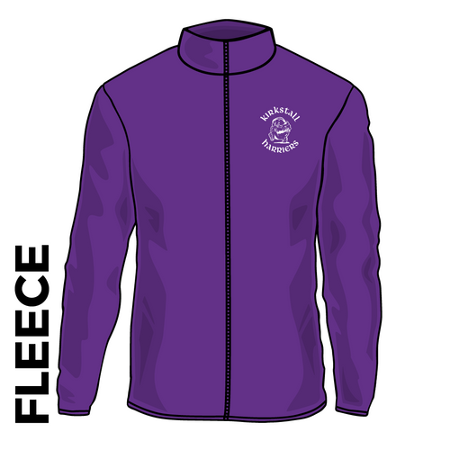Kirkstall Harriers purple fleece top front with embroidered badge on left chest