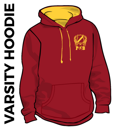 Pudsey and Bramley AC maroon and gold varsity hooded top front with printed badge A on left chest