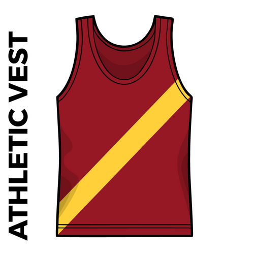 Maroon athletics vest, front image with gold sash on chest.
